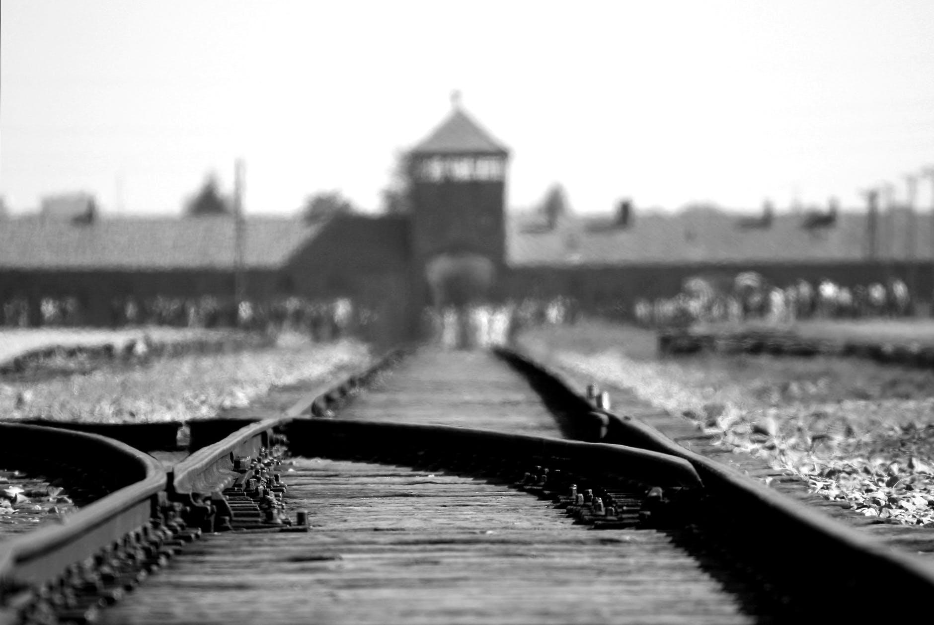 black metal train rails